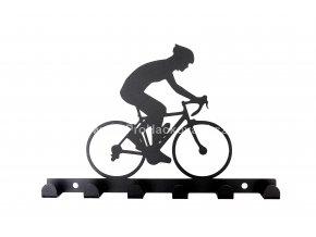 Kovový věšák černý - cyklista