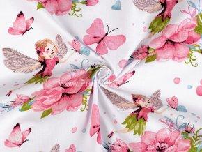 bavlnena latka kvety vily motyli 1