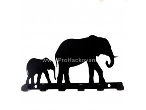 Kovový věšák černý - sloni