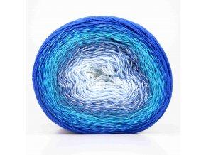 příze Flowers 299 bílá, variace modré