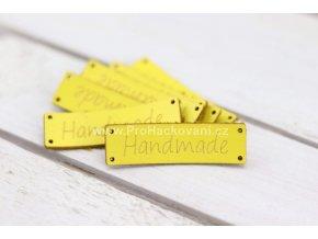 Hand Made koženková cedulka žlutá