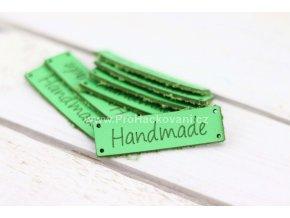 Hand Made koženková cedulka zelená