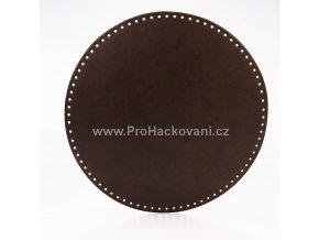 Koženkové dno na kabelku kulaté Ø 25 cm tmavě hnědé