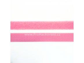 Suchý zip, 20 mm, komplet růžová