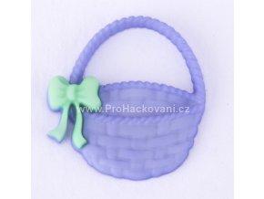 Knoflík exclusive Košík fialový s mašličkou nalepovací