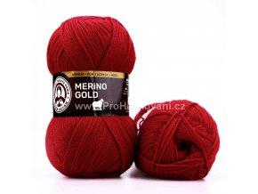 příze Merino Gold 034 tmavě červená