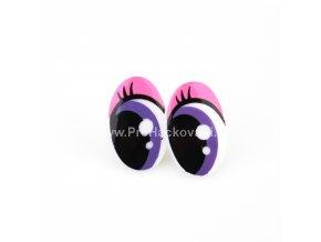 Oči plastové, růžovo fialové 16x25mm