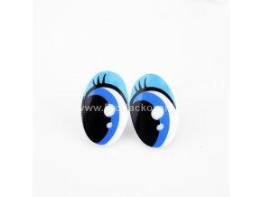 Oči plastové, modré 16x25mm