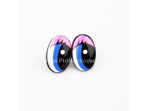 Oči plastové, růžovo modré 13x20mm