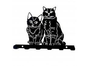 Kovový věšák černý - kočky