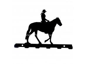 Kovový věšák černý - jezdkyně na koni