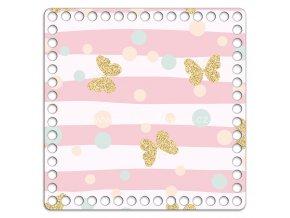 Dno s obrázkem čtverec 20 x 20 cm motýli