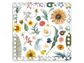Dno s obrázkem čtverec 20 x 20 cm barevné květy