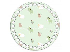 Dno s obrázkem kruh 15 cm zvířátka