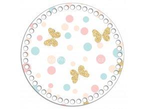 Dno s obrázkem kruh 20 cm motýli