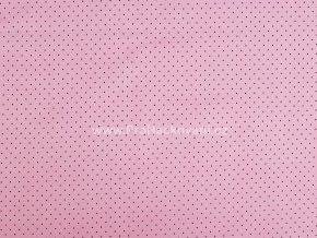 Bavlněná látka mini puntík černý na světle růžové