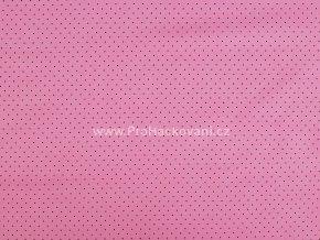 Bavlněná látka mini puntík černý na růžové