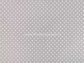 Bavlněná látka světle šedá s drobnými puntíky