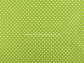 Bavlněná látka trávově zelená s drobnými puntíky