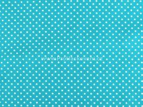 Bavlněná látka azurová modrá s drobnými puntíky
