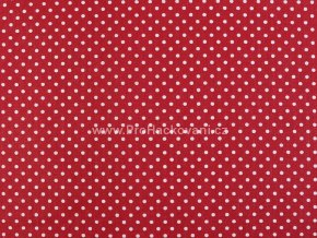 Bavlněná látka červená s drobnými puntíky