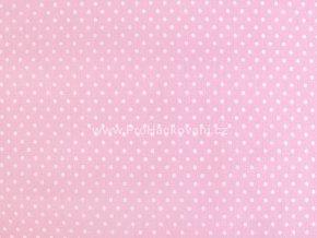 Bavlněná látka růžová s drobnými puntíky