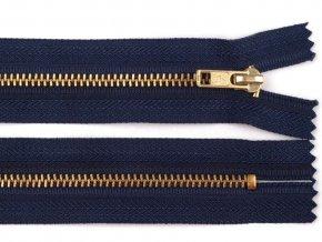 Kovový mosazný zip nedělitelný 18 cm tmavě modrý