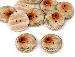 Knoflík kulatý imitace dřeva slunečnice 26 mm