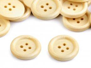 Dřevěný knoflík kulatý pinie čtyřdírkový Ø 20 mm