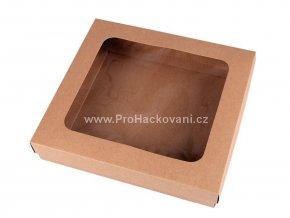Papírová krabička s průhledem 4,5 x 21 x 23 cm hnědá