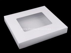 Papírová krabička s průhledem 4 x 24,5 x 27,5 cm bílá