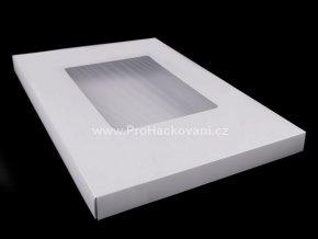 Papírová krabička s průhledem 3 x 29 x 43 cm bílá