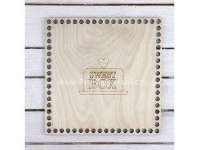 Dno s nápisem Sweet box čtverec 19 x 19 cm