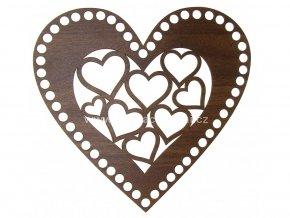 Víko na košík dekor ořech srdce 20 cm