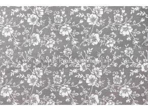 Bavlněná látka bílé květiny na šedé