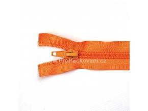 Spirálový zip dělitelný 60 cm oranžově rezavý