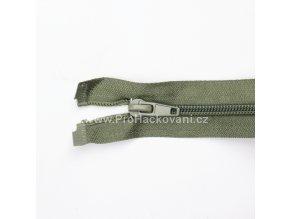 Spirálový zip dělitelný 40 cm šedozelený