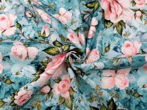 Teplákovina růže na modrozelené