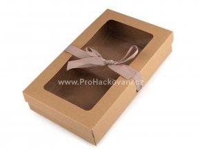 Papírová krabička s průhledem a stuhou 5 x 15,5 x 25,5 cm hnědá