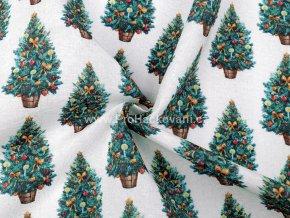 Dekorační látka vánoční stromeček Loneta