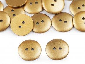 Knoflík kulatý imitace kovu zlatá 18 mm