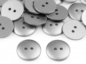 Knoflík kulatý imitace kovu stříbrná 18 mm