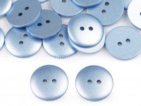 Knoflík kulatý imitace kovu modrošedá 18 mm