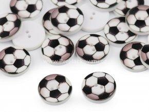 Knoflík kulatý fotbalový míč bílý 16 mm