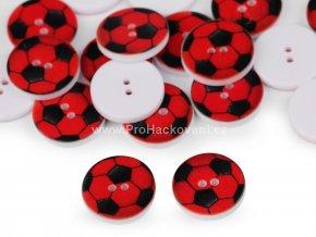 Knoflík kulatý fotbalový míč červený 16 mm