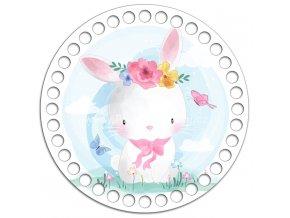 Dno s obrázkem kruh 15 cm růžový králík
