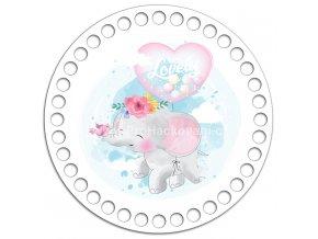 Dno s obrázkem kruh 15 cm šťastný slon
