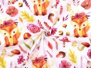 Bavlněná látka liška a lesní plody