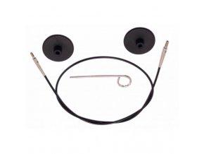 Výměnné lanko KnitPro 60 cm černá, stříbrná