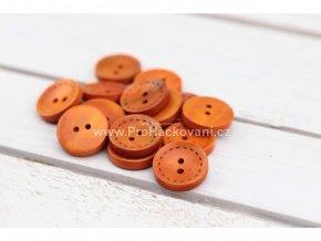 Dřevěný knoflík kulatý s reliéfem štepování Ø 25 mm oranžový